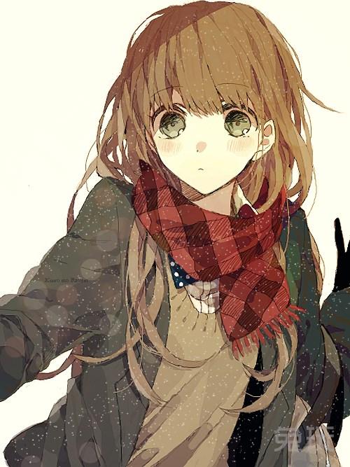 戴围巾的动漫美少女图片(15)