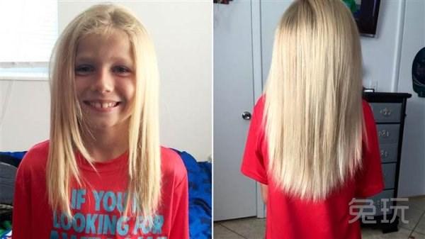 """美国佛罗里达州8岁的男孩Christian McPhilamy为了帮助从未谋面的小朋友,把头发留长了两年多,期间被同学叫成是女孩子,大人们也纷纷头来反对的目光。Christian留的及腰长发,是为了捐给因为患癌症而失去头发的孩子们。上周,McPhilamy终于把头发剪掉。    他的母亲,28岁的Deeanna Thomas至今都被儿子的决心所震撼。她说:""""Christian心胸非常宽广,我不知道如何才能形容我有多自豪。""""    接收Christian头发的慈善机构Childr"""