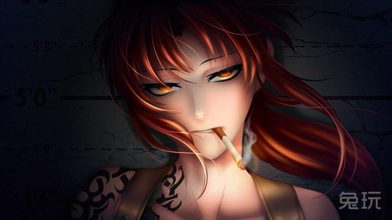 女生手绘卡通抽烟