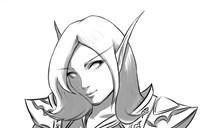 魔兽玩家原创:BE牧师妹子 简单的黑白素描