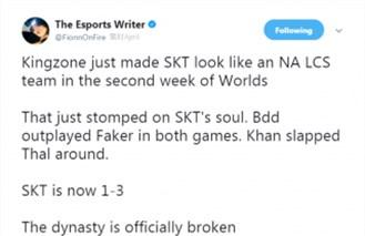 ESPN记者唱衰SKT:SKT一胜三负 王朝覆灭!