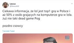 LOL数据:英雄联盟在波兰端游占比50%