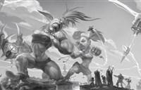 原创作品:黑白色彩中的激战 侏儒VS地精