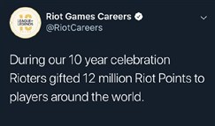 十周年期间拳头游戏员工赠送出1200万点券