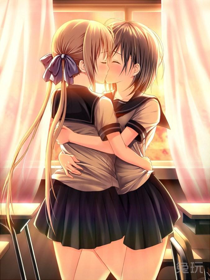 动漫美女百合亲吻图片