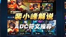 裴小峰解说第一视角 李元芳刘备等ADC符文推荐