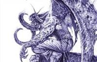 魔兽大触玩家圆珠笔绘画:悲伤的伊利丹!