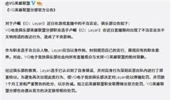 VG俱乐部对于Leyan选手不当言论的处罚公告